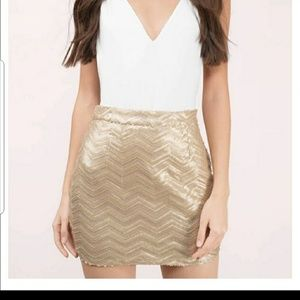 Tobi Gold Sequins Mini Skirt